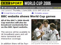 BBC World Cup Online Via Broadband
