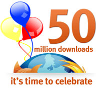 Mozilla Firefox celebrates 50 million downloads
