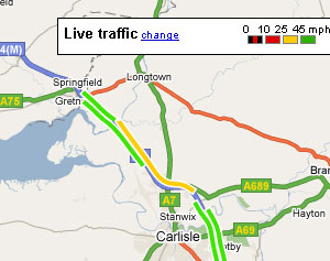 Google Maps Adds Live Traffic updates For England