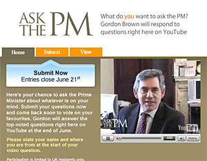 PM Gordon Brown Launches YouTube 'Ask The PM' sessions