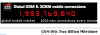 GSM Mobiles Hit The Two Billion Mark