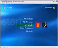 Windows Media Center edition screenshot