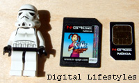 Size comparison of the game cards with a SIM ... and Lego Stormtrooper