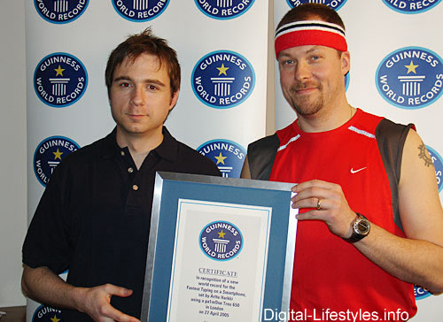 Speed-Typing Guinness World Record Set: Treo 650 Used