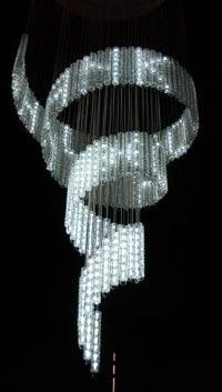 The beautiful Swarovski SMS-enabled chandelier