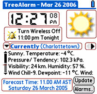 Palm TreoAlarm with Weather Forecast:Review (90%)