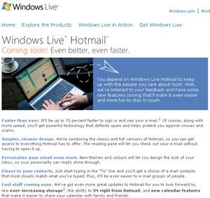 Microsoft Updates Hotmail (Windows Live Hotmail)