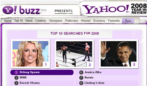 Yahoo: Top Searches of 2008